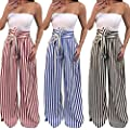 Pervobs Women Pants, Clearance! Women Casual Striped High Waist Harem Pants Loose Bandage Elastic Waist Pants from Pervobs