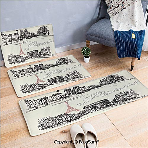 3 Piece Flannel Doormat Arch of Triumph Restaurant Monument Old Fashioned Paris Street Sketch Style Art for Kitchen Rugs Carpet(W15.7xL23.6 by W19.6xL31.5 by W35.4xL62.9)