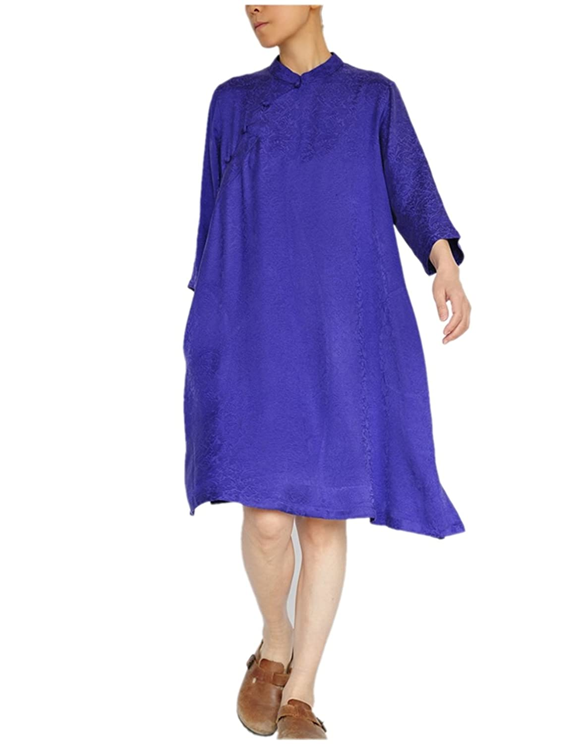Katuo Women's Cupro Silk Dress Half Sleeve Loose Leisure Robe