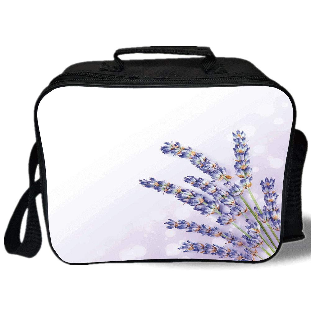 Insulated Lunch Bag,Lavender,Little Posy of Medicinal Herb Fresh Plant of Purple Flower Spa Aromatheraphy Organic,Lavander,for Work/School/Picnic, Grey