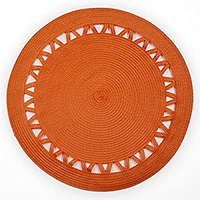 Shamake Round Braided Bamboo Style Woven Thanksgiving Christmas Holiday Placemats Set of 4 14-inch Kitchen Table Decorative Easy to clean(13359 Orange) - Measures 14 inches in diameter to complement most dinner plates.Very dural,and long lasting.Wipe clean with damp cloth. Protect your table from scratches and stains, Underlying fabric is soft, non-scratching woven polyester,Very easy to clean with a damp cloth. Versatile enough for the formal or every day dining room,this placemat is sure to become a favorite. - placemats, kitchen-dining-room-table-linens, kitchen-dining-room - 61XkSfCLbhL. SS400  -