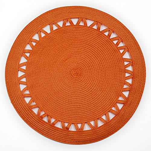 Shamake Round Braided Bamboo Style Woven Thanksgiving Christmas Holiday Placemats Set of 4 14-inch Kitchen Table Decorative Easy to clean(13359 Orange) - Thanksgiving Placemat
