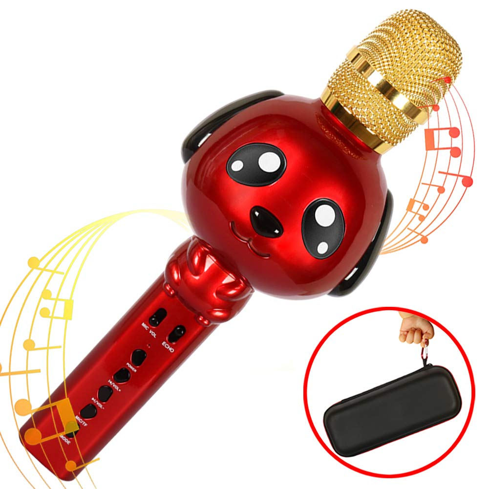 Kids Karaoke Machine Microphone for Kids Karaoke Microphone Bluetooth Microphone Wireless Microphone for Kids Portable Karaoke Player Karaoke Mic Machine Singing for iPhone Android iPad - Red Rhllxzo