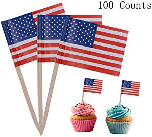 Ucity 100 Pack 4th of July American Flag Cupcake Picks American Flag Food Picks Toothpicks Cocktail Sticks for Independence Day Home Patriotic Theme Birthday Party Suppliers