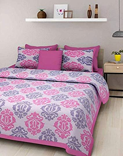 JAIPUR PRINTS 100% Cotton Printed Double Bedsheets With 2 Pillow Covers    Multi, Lowest
