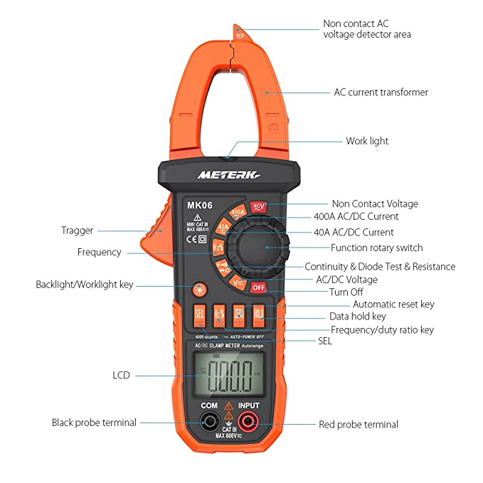Meterk Digital Clamp Meter Multimeter 4000 Counts Auto-ranging Multimeter  with AC/DC Voltage&Current, Resistance, Capacitance, Frequency, Diode, Hz