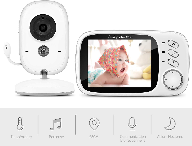 2.4GHz Numérique Sans Fil LCD Couleur Moniteur Bébé Caméra Vision Nocturne Audio Vidéo R