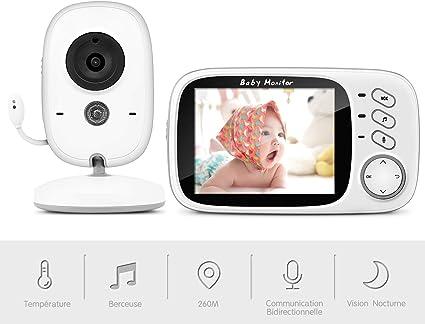 Babyphone Vid/éo Cam/éra sans Fil 2,0 Pouces Moniteur B/éb/é 2,4 GHz Cam/éra B/éb/é Talkie Walkie Surveillance Temp/érature Vision Nocturne et Berceuses Int/égr/ées avec Ecran LCD Color/é