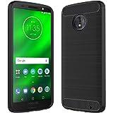 Anjoo Funda para Moto G6 Play/Moto E5, Negro Silicona TPU Fundas para Motorola Moto G6 Play, Anti-choques, Carcasa con Fibra de Carbono