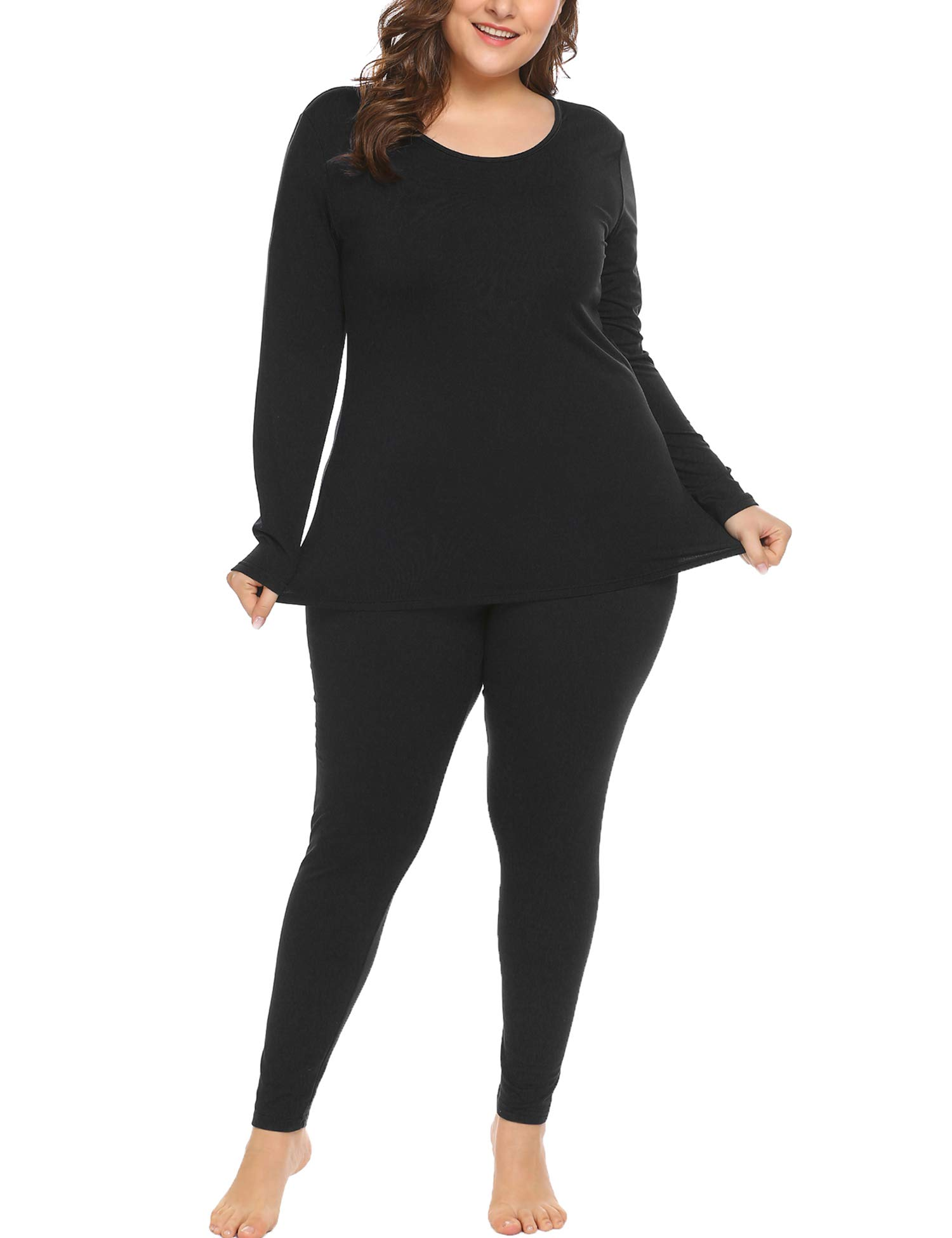 In'voland Women's Plus Size Thermal Long Johns Sets Fleece Lined 2 Pcs Underwear Top & Bottom Pajama  Black 22W by IN'VOLAND
