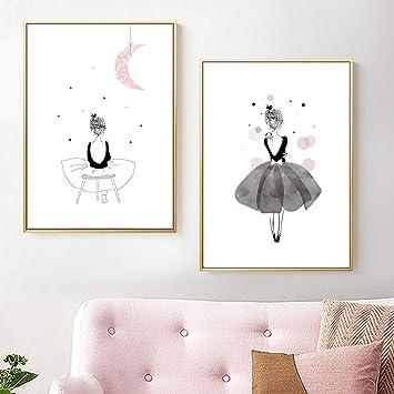 Nordic Ideas Set De 2 Tableaux Impression Affiche Decoration Chambre Fille Posters Pour Bebe Peintures Sur Toiles Sans Cadre Ptof003 Xl