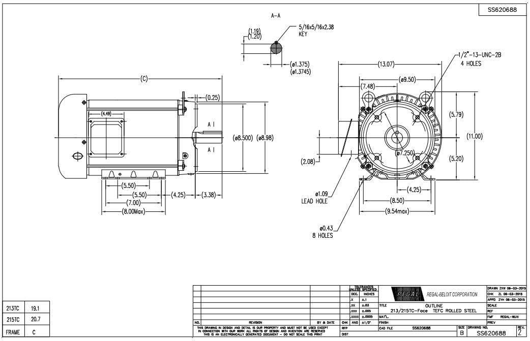 3 hp 1200 RPM 213TC Frame TEFC C-Face (Rigid Base) 230/460V Marathon Electric Motor # GT1211A