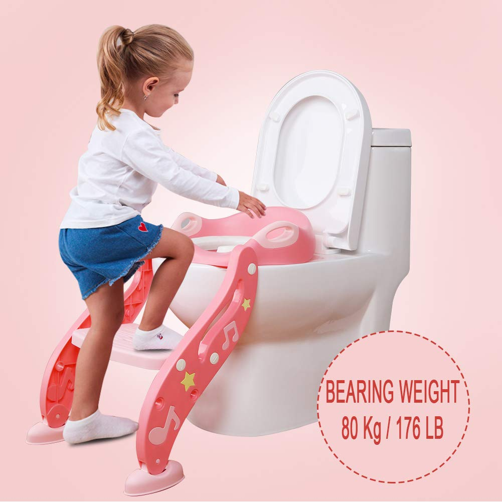 AiKiddo Baby Potty Training Toilet Seat Blue Sturdy for Boy and Girl Anti-Slip Toddler Toilet Trainer Chair with Step Stool Ladder