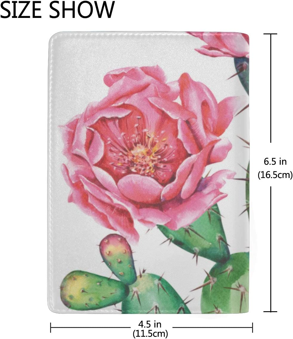 Watercolor Pattern With Flowers Roses And Cactus Blocking Print Passport Holder Cover Case Travel Luggage Passport Wallet Card Holder Made With Leather For Men Women Kids Family