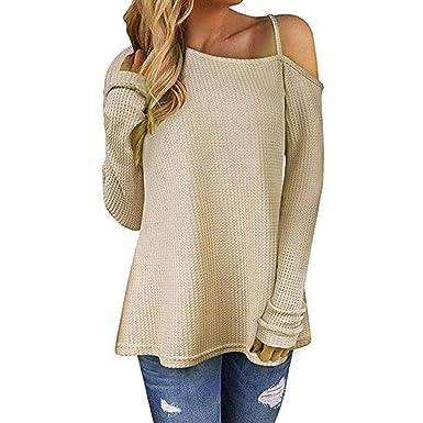 70b5df65794 Susenstone Femme Chemisier Epaule Denudee Pin Up Tricoté Sweater ...