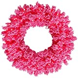 Vickerman K168837LED Wreath with 260 PVC tips & 100 Dura-lit LED Italian Style lights on Wire, 36'', Flocked Pink