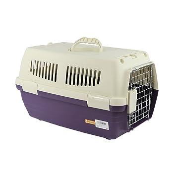 YOMMY® Transportín Mascotas Plastico Portable Pet Carrier Viaje homologado IATA para Perros Gatos Conejos 47.5 X 29 X 28.5 cm YM-0154 (Violeta): Amazon.es: ...