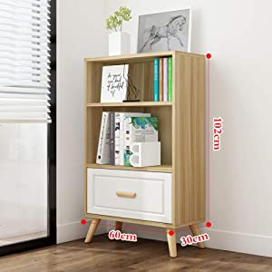Wooden Bookshelf,Open Bookcase with Drawers Side Corner Storage Cabinet Decor Furniture for Home Office Easy Installation Log 60x30x102cm(23.6x11.8x40.2inch)
