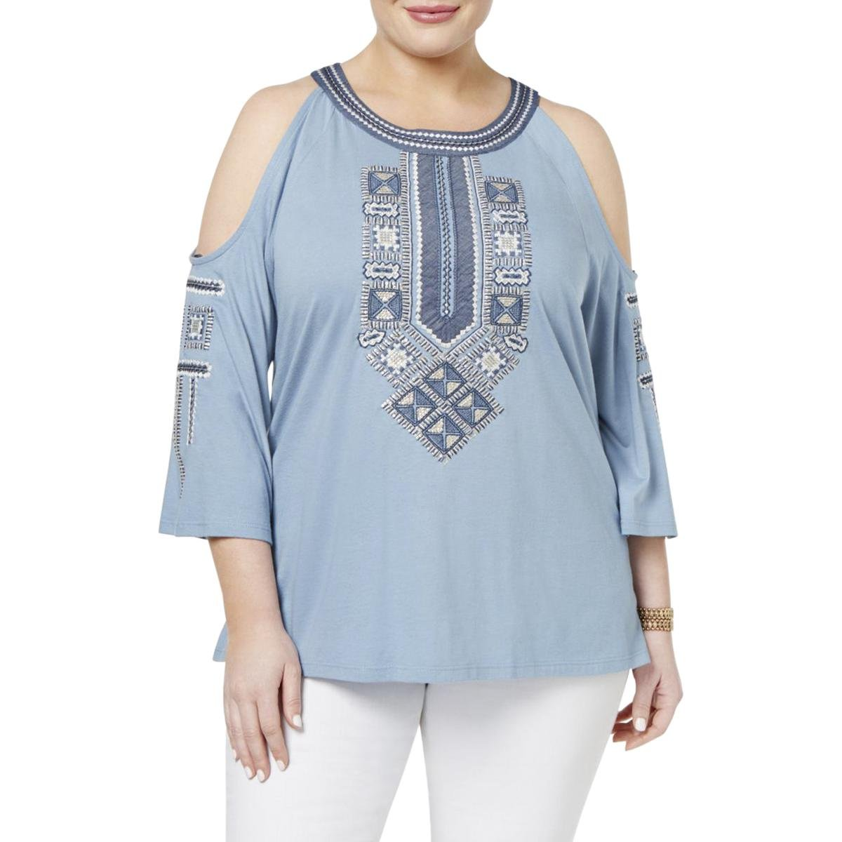 Style & Co. Womens Plus Spring Awakens Embroidered Sequined Blouse Blue 2X
