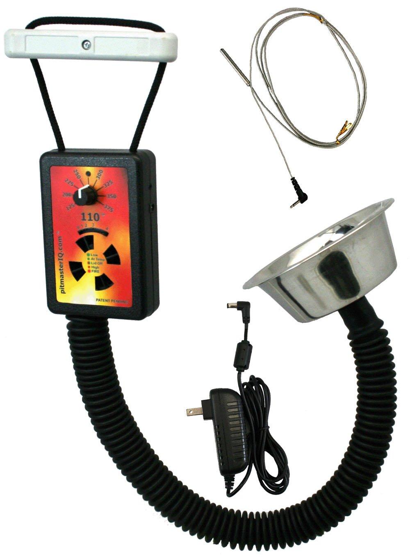 PitmasterIQ IQ110 BBQ Temperature Regulator Kit W/Standard Pit Adapter For Weber Smokey Mountain, Weber Kettle & Many Other BBQ Smokers by Pitmaster IQ