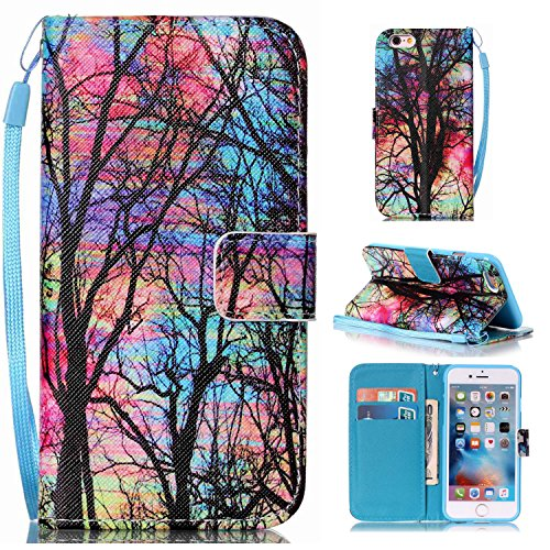 Qiaogle Teléfono Case - Funda de PU Cuero Billetera Clamshell Carcasa Cover para Huawei Honor 5A / Y6 II (5.5 Pulgadas) - YB44 / Dama Búho YB40 / Colorido árbol