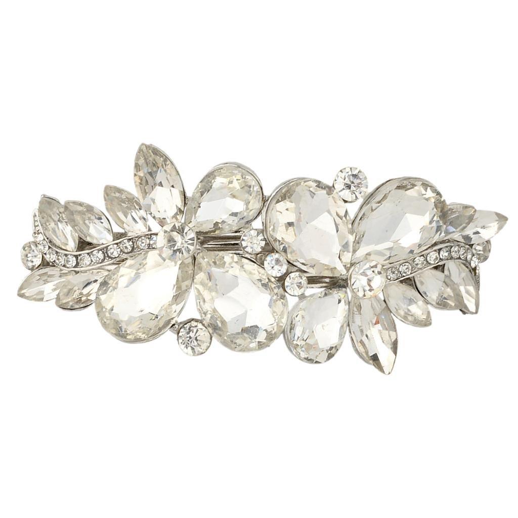 Ever Faith Silver-Tone Austrian Crystal Art Deco Flower Hair Barrette Clip Clear N01350-1