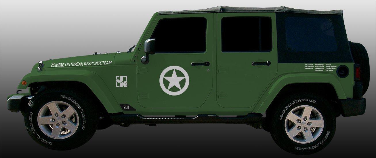 Jeep Wrangler JK Side Decal or Fender Decal of JK Pair in 3 Colors Black Rukse RKD-SDJK