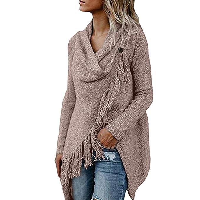 Rovinci☆ Mujeres Poncho Sólido Borlas de otoño Slash Gradient Shawl Hem Fringe Suéter Flojo Blusa Tops: Amazon.es: Ropa y accesorios