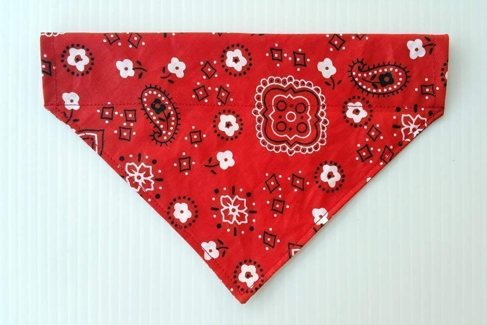 Classic Red Bandana Print for Dogs, Reversible Over the Collar Slip Thru Thread Through Style Petwear