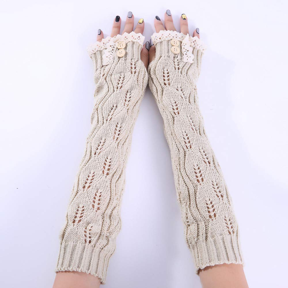 Hot Selling Womens Lace Knitted Long Soft Gloves Arm Warmer Thicken Gloves Sleeves Fingerless Thumb Hole Gloves Autumn Winter Hat Ugood Gray-53
