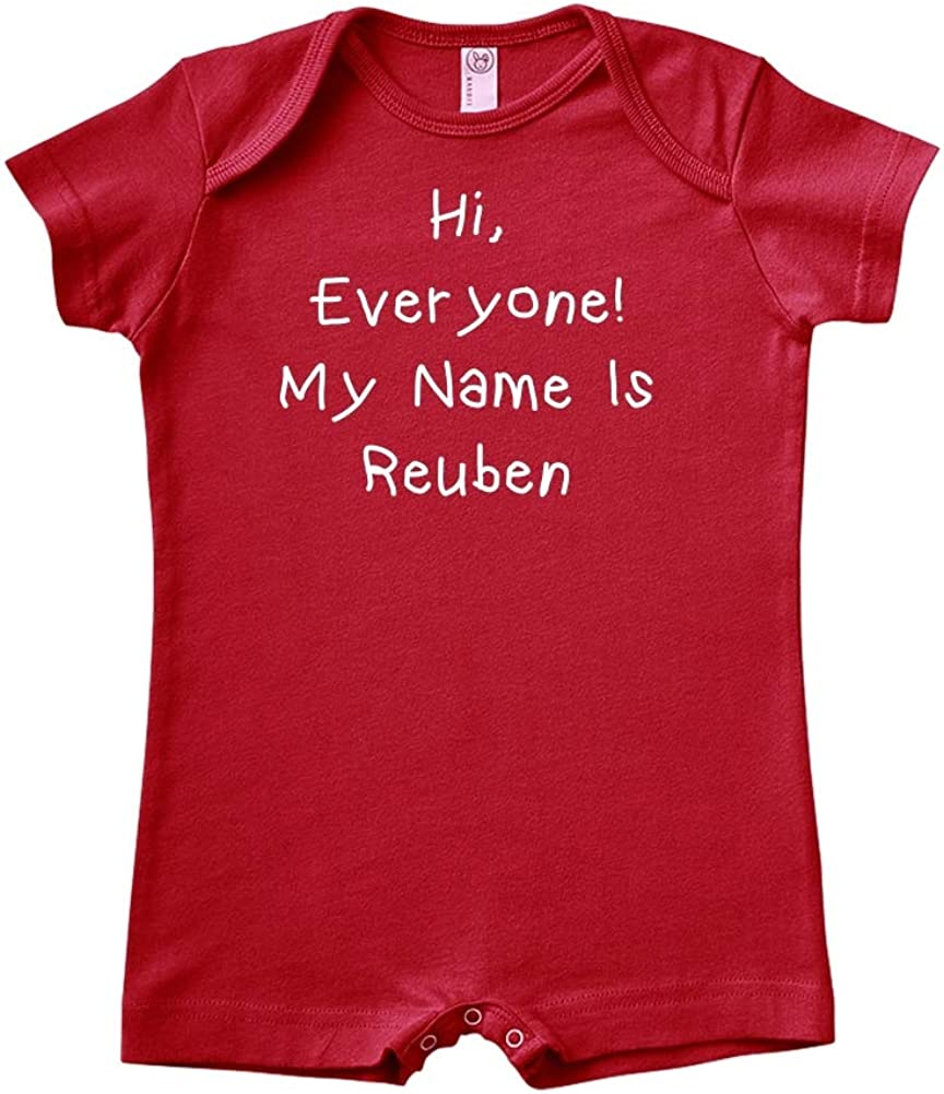 Personalized Name Baby Romper Mashed Clothing Hi Everyone My Name is Reuben