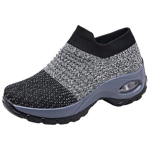 Zapatos Deporte Mujer Zapatillas Deportivas Correr Gimnasio Casual Zapatos para Caminar Mesh Running Transpirable Aumentar Más Altos Sneakers Negro Gris ...