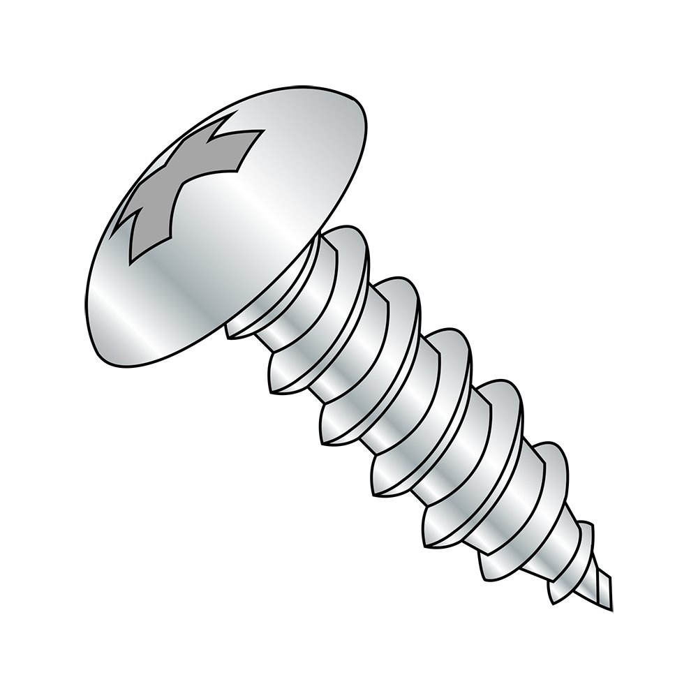 Steel Sheet Metal Screw, Zinc Plated, Truss Head, Phillips Drive, Type AB, #12-14 Thread Size, 5/8'' Length (Pack of 100) by Small Parts