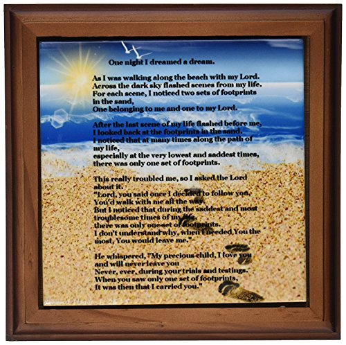 3dRose ft_204469_1 Footprints in The Sand on Beach with Poem Framed Tile, 8 by 8