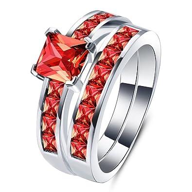 Amazon Com Women S Couples Ring Sets 1 25 Carat Princess Cut