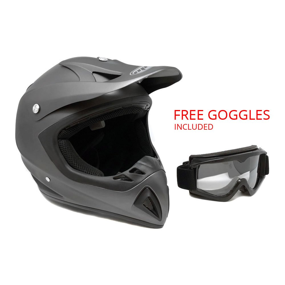Adult Motorcycle Off Road Helmet DOT - MX ATV Dirt Bike Motocross UTV - Flat Matte Gray Medium with Riding Goggles