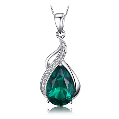 JewelryPalace 2.7ct Simulated Green Nano Russian Emerald Pendants Necklaces 925 Sterling Silver 18 Inches GNSGL58Zo
