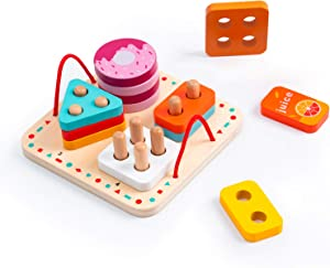 ROBUD Wooden Shape Sorting Montessori Toys for Toddlers, Educational Preschool Food & Color Recognition Geometric Sorting Board, Stacking Ring Puzzle, Aged 3 Years Old and up