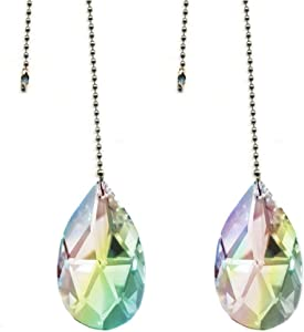 """Magnificent Crystal 50mm (2"""") AB Crystal Almond Prism 2 Pieces Dazzling Crystal Ceiling Fan Pull Chain"""