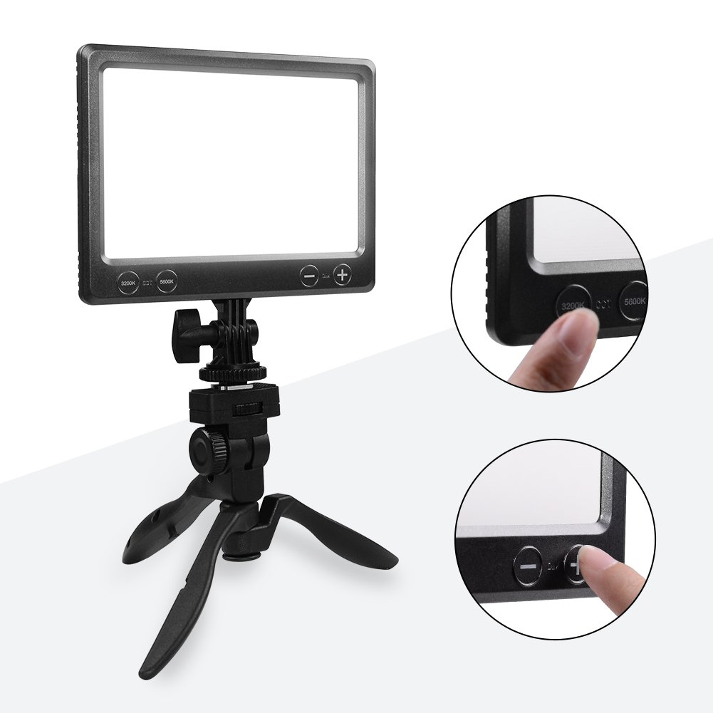 NanGuang Dimmable Camera/Camcorder LED Video Light Panel Table Top Super Slim Bright Soft 3200K-5600K for Youtube Video Close-up Portrait Children Wedding Table Top Studio with AC Power Handle Tripod