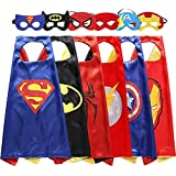 My-My 3-10 Year Old Boy Gifts, Superhero Costume for Boys Superhero Capes for Kids Boys Toys for 3-10 Year Old Boys Girls Cartoon Dress up Costumes Party Supplies 6 Pack MMUSPF06
