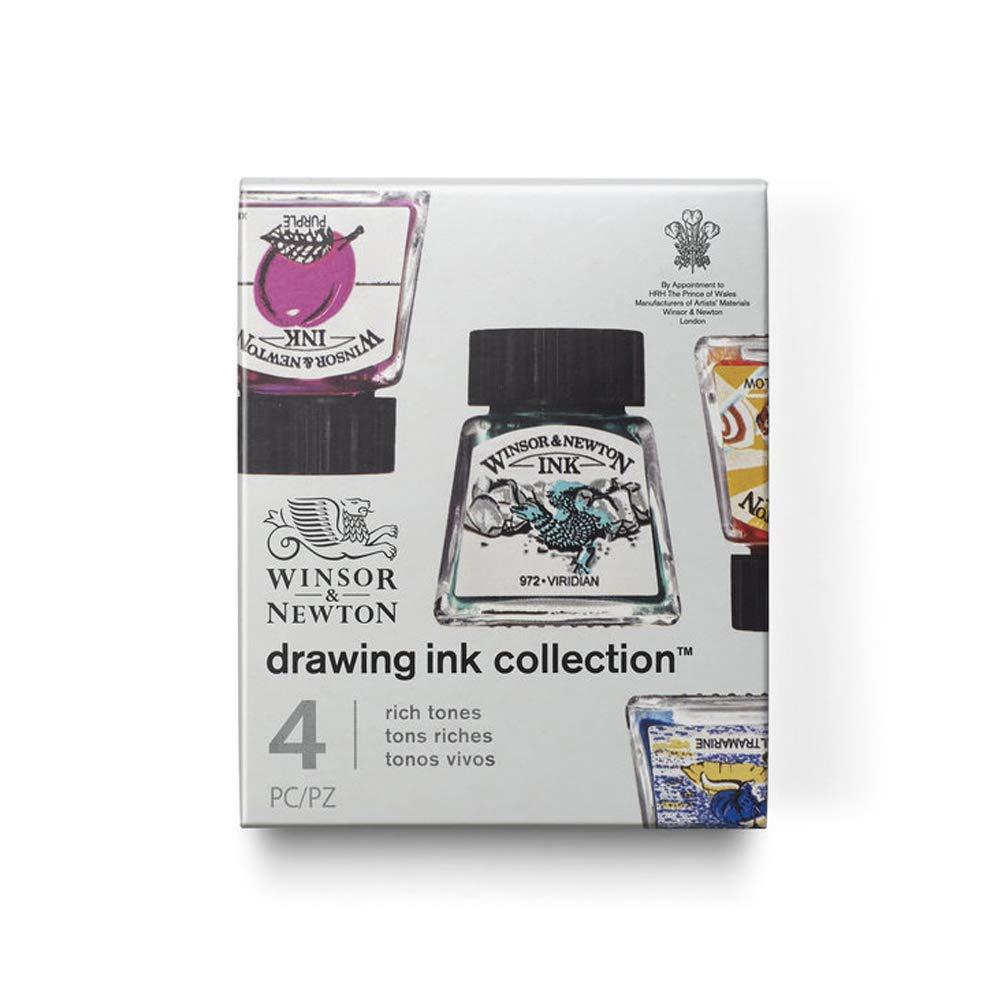 Winsor & Newton W&N Drawing Ink Collection-Set of 4 (Rich Tones), Purple, Ultramarine, Sun Yellow, Viridian, zeichentusche - set