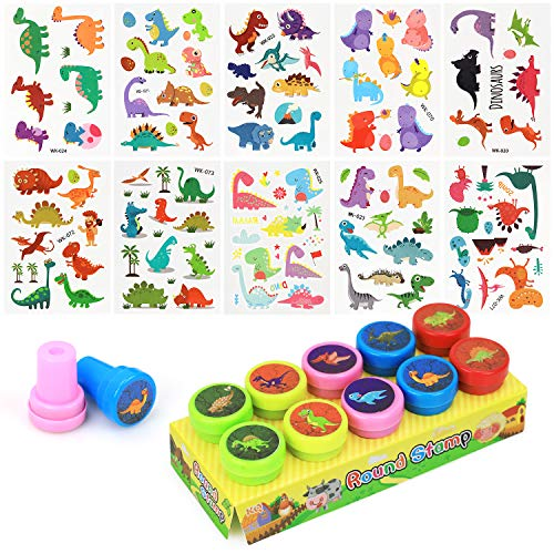 N&T NIETING 10 Sheets Dinosaur Temporary Tattoos with 10 Dinosaur Stampers Toy for Kids Boys Girls Birthday Party Favors, Dino Party Decoration Set ()