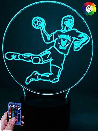 Creativo 3D Balonmano Luz Nocturna ilusión Optica Lámpara 7/16 Colores Cambiantes Control Remoto USB Power Juguetes Decoración Navidad Cumpleaños Regalo: Amazon.es: Iluminación