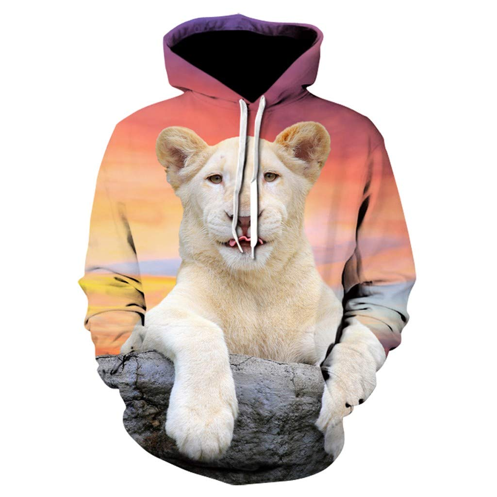Men's Autumn Hooded Lion Printing Long Sleeve Hoodies Sweatershirt Tops Shirt Beige by Exteren