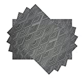 E-Smurfs PVC Woven Diamond Striped Placemats Heat Stain Resistant Non-slip Wipe Clean Kitchen Dining Room Table Place Mats, Set of 4, Grey