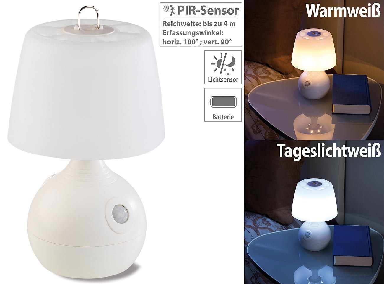 Lunartec tischlampe batterie: led tischlampe pir & licht sensor