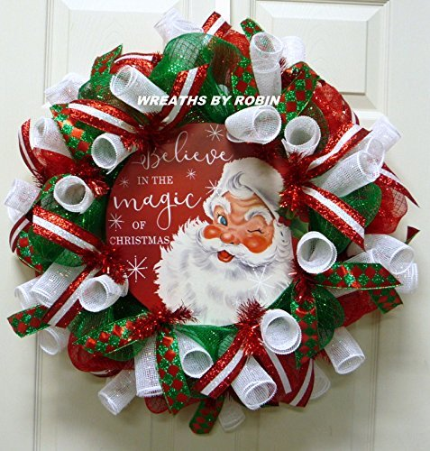 believe in the magic of christmas christmas wreath red emerald white wreaths 3259