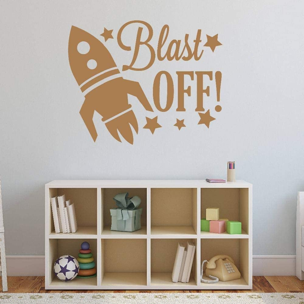 Spaceship Pattern Wall Decal Quotes Blast Off Stars Vinyl Wall Stickers Kids Nursery Rooms Home Decal Headboard Boys Decor 52x42cm Amazon Co Uk Diy Tools
