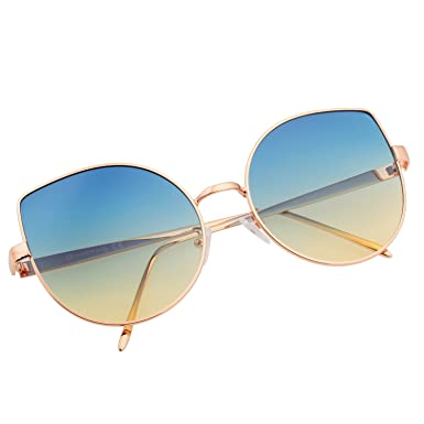 84ebaa78df VIVIENFANG Women Color Tinted Lens Large Oversized Cateye Sunglasses  Lightweight Mirror Shades 86931D Ocean Lens